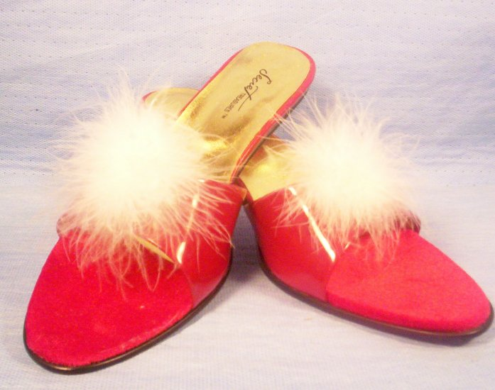 Ladies Secret Treasures Red Pumps with white Feathers, Item # 05-001020060028