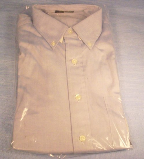 Men's LS Size 15 Blue and White Button Front Shirt, Item # 10-001016060011