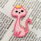 2pcs..35mm Queen Cat Embroidered Felt Patches in White and Pink
