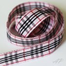 5 Yards of 5/8 inch (15mm)Pink and Black Tartan Plaid Ribbon