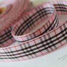 5 Yards of 1inch (25mm)Pink and Black Plaid Ribbon