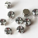 20 pc 10mm Faceted Round Sew On Crystal Clear Rhinestones W/ Rhodium Plated Over Brass Prong