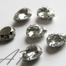 20 pc 11mmX15mm Faceted Teardrop Sew On Crystal Clear Rhinestones W/ Rhodium Plated Over Brass Prong