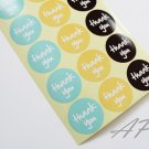 36pc Thank You Sticker in Aqua, Yellow, Black..2 Sheets in Pack