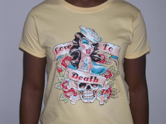 """love to death"" tattoo tshirt for ladies"