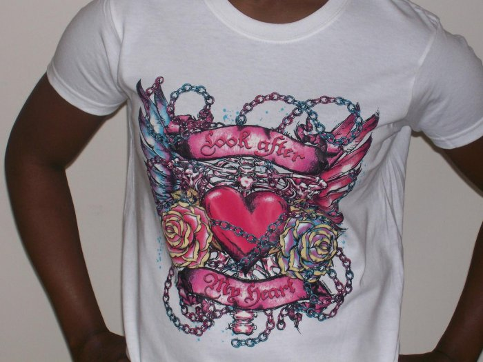 """""""look after my heart"""" tattoo tshirt for ladies"""