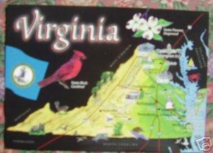 "Brand New ""VIRGINIA"" map postcard - US"