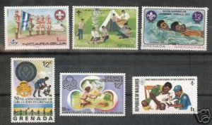 Lot of 6  - Scouting on Stamps