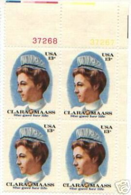 US Stamp Block  CLARA MAASS.13 MNH