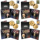 24K GOLD PLATED PRESIDENTIAL DOLLAR AND STAMP SETS (4 )