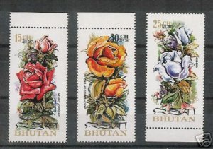 #150-150B Lot of 3  Bhutan Roses MINT Stamps Scented