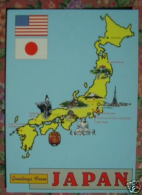 Brand New GREETINGS FROM JAPAN MAP postcard JAPAN