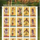 US AMERICAN INDIAN DANCES STAMP SHEET MNH  32c