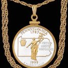 US State Quarter Coin Pendant in 2tone gold/silver fill