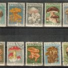 ROMANIA -Lot of Single  Mushroom Set stamps MNH cancel