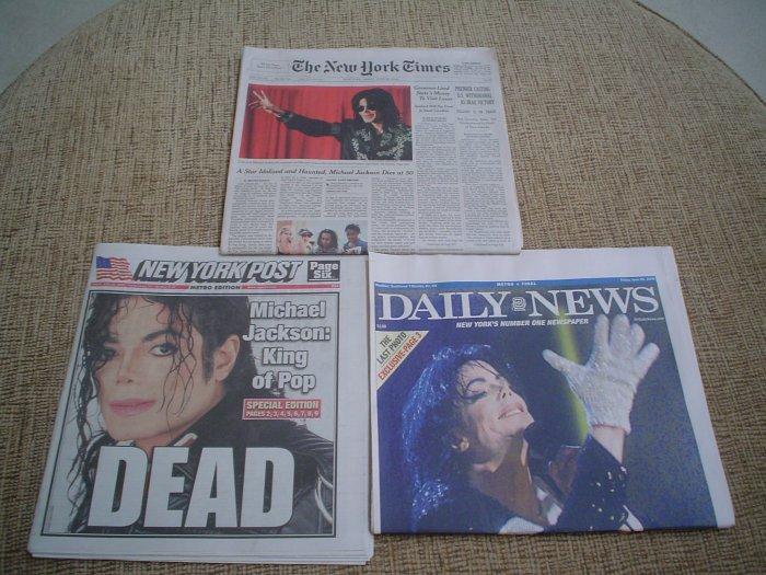 NEW YORK TIMES - DAILY NEWS - NY POST - Michael Jackson