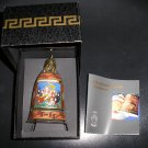 "VERSACE ROSENTHAL ""GOD IS BORN"" CRYSTAL CHRISTMAS BELL ORNAMENT 2001 - RARE - NEW!"
