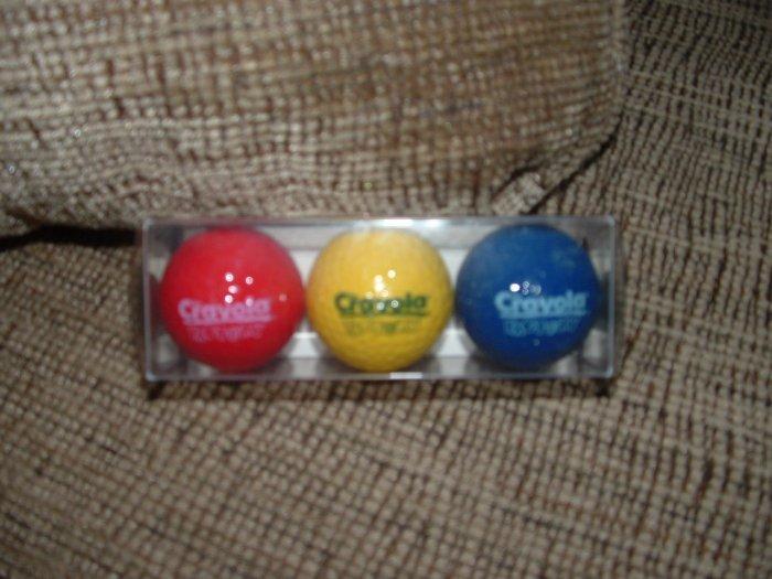 CRAYOLA CRAYON FACTORY LOGO GOLF BALL SET OF 3 - RARE - BRAND NEW!