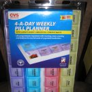 CVS 4-A-DAY WEEKLY PILL PLANNER - 28 COMPARTMENTS LABELED MORNING NOON EVENING BED - BRAND NEW!