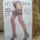 PLUS/QUEEN SZ MUSIC LEGS BK SHEER SEAMLESS THIGH HI w/ CONTRAST LACE UP TOPS-CROSSDRESS-TRANSGENDER!