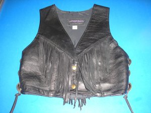 "PROTECH LADIES BLACK LEATHER BIKER VEST w/ FRINGE & SIDE LACES-""RODEO"" STYLE-MADE IN THE USA-NEW!"