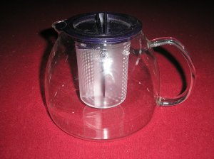 JENAER GLASS TEA POT WITH CONTROL BREW STOP STRAINER/INFUSER - BRAND NEW!