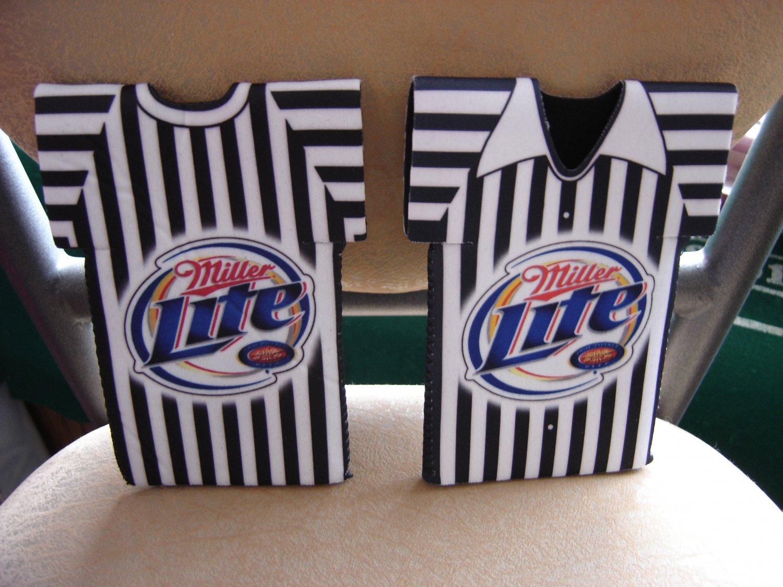 Miller Lite Beer Referee Shirt Bottle Koozie Cooler Set