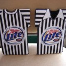 MILLER LITE BEER REFEREE SHIRT BOTTLE KOOZIE COOLER - SET OF 2 - BRAND NEW!