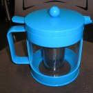 BODUM BEAN GLASS TEA PRESS - 34 Ounce - BLUE - NEW AND FRESH TEA BREWING CONCEPT!