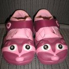 "POLLIWALKS KIDS ""TOYS FOR FEET"" PINK RACCOON VELCRO STRAP OXFORD w/ LEATHER UPPER -SIZE 8-BRAND NEW!"