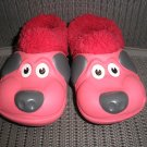 "POLLIWALKS KIDS ""TOYS FOR FEET"" PUPPY RED/BLACK FURRY-LINED SLIP ONS - SIZE 8 - BRAND NEW!"