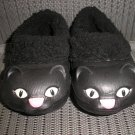 "POLLIWALKS KIDS ""TOYS FOR FEET"" KITTY CAT BLACK/PINK FURRY-LINED SLIP ONS - SIZE 8 - BRAND NEW!"