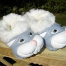 """POLLIWALKS KIDS """"TOYS FOR FEET"""" BUNNY BLUE/WHITE FURRY-LINED SLIP ONS - SIZE 8 - BRAND NEW!"""