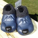 "POLLIWALKS KIDS ""TOYS FOR FEET"" PUPPY BLUE/BLACK FURRY-LINED SLIP ONS - SIZE 8 - BRAND NEW!"
