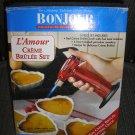 BONJOUR L'AMOUR CREME BRULEE SET with HEART-SHAPED PORCELAIN RAMEKIMS - NEW!