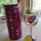 "LOLITA - LOVE MY WINE ""AGED TO PERFECTION"" 15 Oz. HAND PAINTED STEM WINE GLASS by Lolita!"