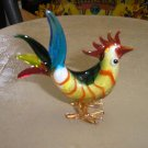 ART GLASS COLORFUL CHINESE ZODIAC ROOSTER FIGURINE!