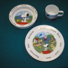 PEANUTS CHARLIE BROWN SNOOPY CHILD SET-PLATE BOWL MUG-ANOTHER DETERMINED PRODUCTION JOHNSON BROS.!
