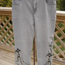 DIANE GILMAN EMBELLISHED GRAY 5 POCKET STRETCH DENIM SIZE 12 JEANS - DRIPPING WITH JEWELS NWOT