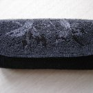 VINTAGE BLACK BEADED CLUTCH EVENING PURSE/BAG by JILL EMPRESS - HANDMADE IN JAPAN!
