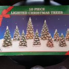 "CHRISTMAS TREES-LIGHTED PORCELAIN-SET OF 10-4"" to 7""- PERFECT for CHRISTMAS VILLAGE SCENES!"