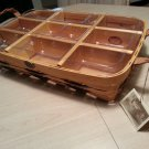 PETERBORO BUFFET SERVER BASKET w/ WOODEN INSERT & 12 COMPARTMENT PLASTIC PROTECTOR #H63992-RETIRED!