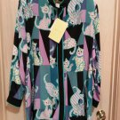 BOB MACKIE Wearable Art CAT Motif Long Silk Tunic Size 3X!