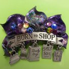 """Born to Shop"" Brooch Pin - Pewter by JJ with Dangling Charms & Rhinestones!"