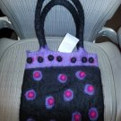 RISING TIDE Felted Wool Handbag Black & Multi Shoulder Bag Purse - HANDMADE - NWT!