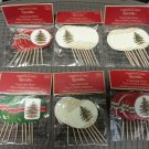 Spode CHRISTMAS TREE Wood & Paper Cupcake Picks (Lot of 6 Packs of 8 Picks) #VP-12051!