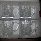 Set of 4 Paul Sebastian, Inc. Crystal Mugs - Diamond Pattern - Made in France!
