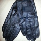 Men's Black Leather Driving Gloves with Velcro Closure - Size LARGE by Views!
