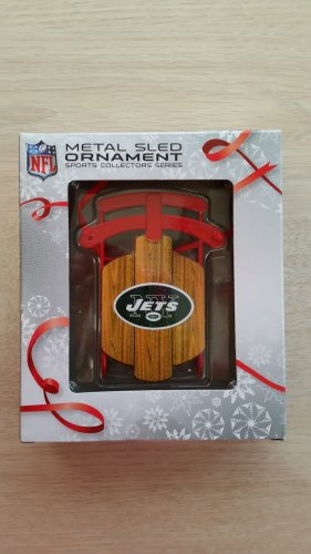 NFL Metal Sled Ornament - NY JETS - Sports Collector's Series - SHOW YOUR TEAM SPIRIT!
