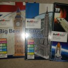 LOT of 4 BUILDREAM 3D PUZZLES - Space Shuttle, Statue of Liberty, Big Ben & Eiffel Tower!!